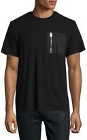 Ovadia & Sons Satin Zip-Pocket Short-Sleeve T-Shirt, Black