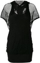 Alexandre Vauthier open net hooded T-shirt - women - Cotton/Elastodiene/Viscose - 3