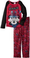 Disney Minnie Mouse Rockabiliy Reebel Girls Long Sleeve Pajama, Size 6
