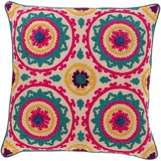 Overstock Kels Embroidered Mandala 18-inch Poly or Feather Down Throw Pillow