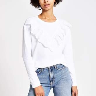 River Island Womens White broderie frill long sleeve T-shirt