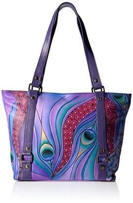 Anuschka Anna by Women's Genuine Leather Medium Cross-Body Handbag | Zip-Top Multi-Compartment Organizer | Dreamy Peacock Dewberry