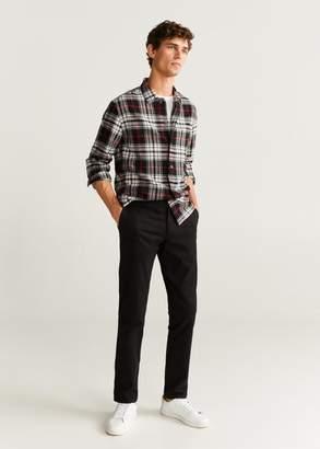 MANGO Regular fit checked wool shirt