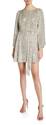 Jay Godfrey Maggie Sequin Mesh Bateau-Neck Flare-Sleeve Belted Mini Dress