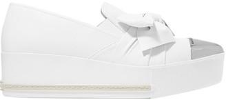Miu Miu Metal-trimmed Leather Platform Slip-on Sneakers