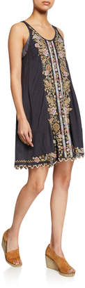 Johnny Was Maritzah Embroidered Sleeveless Georgette Dress w/ Slip