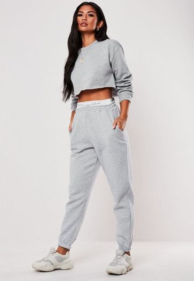 Missguided Tall Gray Taped Joggers