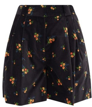 BLAZÉ MILANO Tulip Pleated Floral Cotton-velvet Shorts - Black Multi