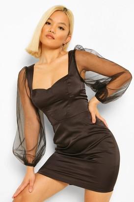 boohoo Petite Volume Sleeve Satin Corset Bodycon Dress
