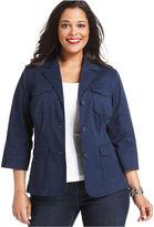 Charter Club Plus Size Jacket, Twill Three-Button