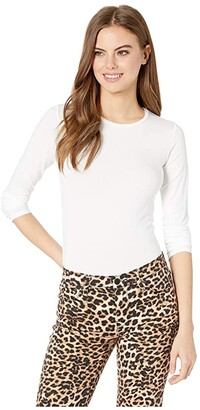 Majestic Filatures Soft Touch Flat-Edge Long Sleeve Crew Neck Top (Blanc) Women's T Shirt