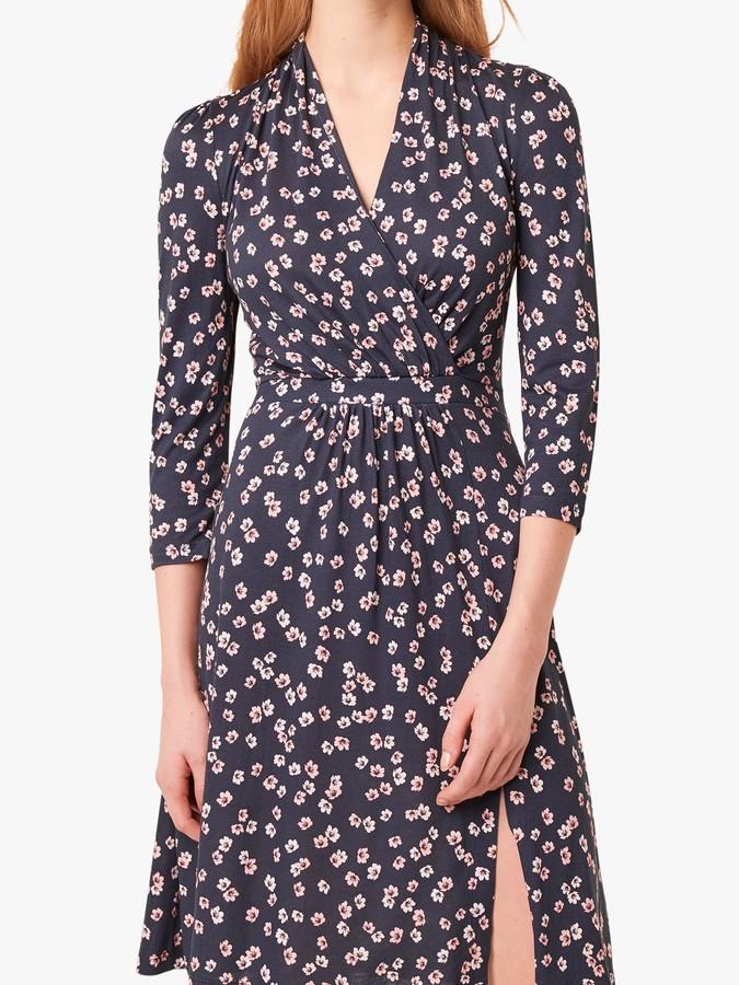 French Connection Eloise Floral Wrap Dress, Utility Blue/Multi