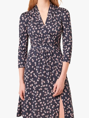 French Connection Eloise Floral Wrap Dress, Utility Blue/Multi
