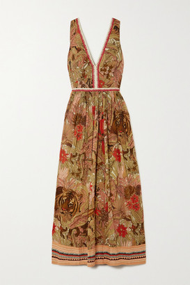 Le Sirenuse Positano Sophia Embroidered Printed Cotton-voile Maxi Dress - Pink
