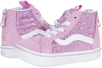 Vans Kids ComfyCush SK8-Hi Zip (Infant/Toddler) ((Glitter) Orchid/True White) Girl's Shoes
