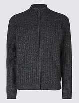 M&S Collection Wool Blend Cable Zipped Through Cardigan