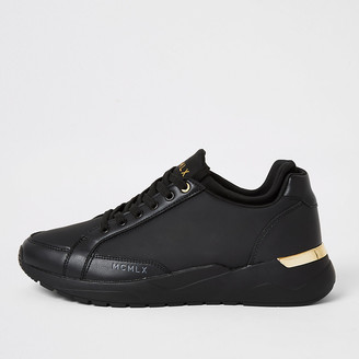River Island MCMLX black sock ankle runner trainers
