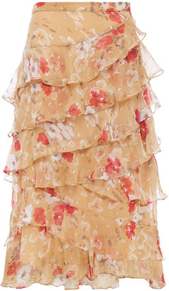 Walter Baker Tiered Fil Coupe Floral-print Georgette Midi Skirt