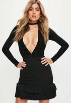Missguided Black Double Frill Hem Scuba Mini Skirt