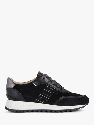 Geox Women's Tabelya Studded Lace Up Trainers, Black
