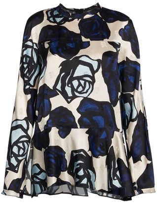 Marni Long-Sleeve Rose-Print Peplum Top