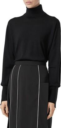 Burberry Nabuna Logo Cuff Merino Wool & Silk Turtleneck Sweater