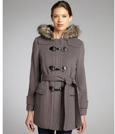 Kenneth Cole New York cement wool blend silvertone clasp faux-fur hooded coat