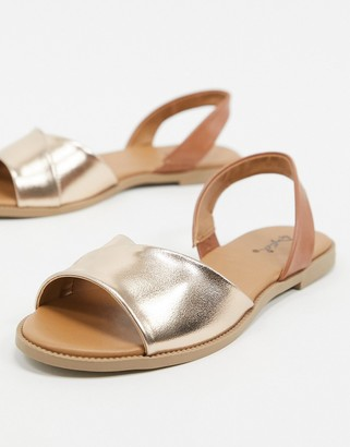 Qupid slingback flat sandals in rose gold
