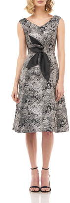 Kay Unger New York Chloe Floral Jacquard V-Neck Sleeveless Dress w/ 3D Flower