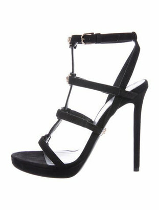 Versace Suede Gladiator Sandals Black