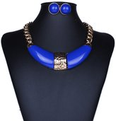 Qiyun Chunky Golden Chain Link Bib Patch Choker Necklace Stud Earrings Set Or Patch Lien Collier