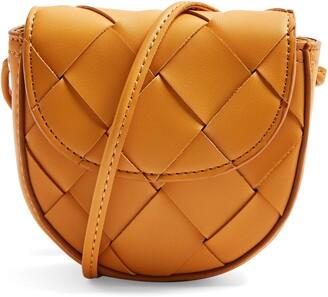 Topshop Mini Woven Faux Leather Shoulder Bag