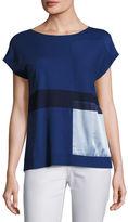 Lafayette 148 New York Short-Sleeve Bateau-Neck Sweater w/ Silk Panel