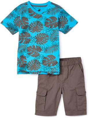 Beverly Hills Polo Club Boys' Casual Shorts BLUE - Blue Floral V-Neck Tee & Cargo Shorts - Toddler & Boys