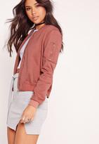 Missguided Ponte Bomber Jacket Pink
