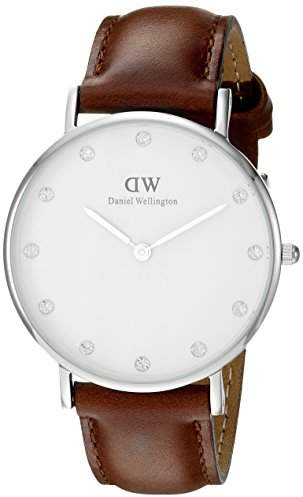 Daniel Wellington Women's Quartz Watch with White Dial Analogue Display and Brown Leather Strap 0960DW