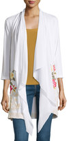 Johnny Was Embroidered 3/4-Sleeve Cardigan, White