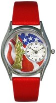 Whimsical Watches Women's S1228001 July 4th Patriotic Red Leather Watch