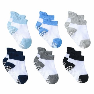 Baby Cotton Socks Non Slip Kids Grip Ankle Socks Anti-skid 6 Pairs for Infant Newborn Boys Girls by YOOFOSS (0-6 months)