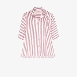 By Any Other Name Striped Strap Sleeve Cotton Shirt