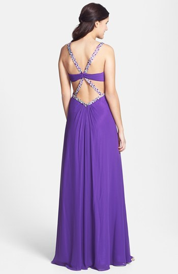 Faviana Embellished Front Twist Chiffon Gown (Online Exclusive)