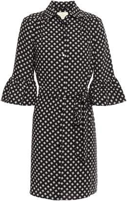Kate Spade Belted Printed Crepe Mini Shirt Dress