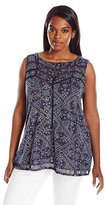 Lucky Brand Women's Plus-Size Ladder Stitch Tank In Blue/Multi Top