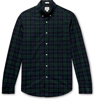 J.Crew Secret Wash Slim-Fit Button-Down Collar Checked Stretch-Organic Cotton Shirt