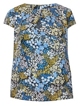 Dorothy Perkins Womens Billie & Blossom Curve Blue And Yellow Floral Print Shell Top, Blue