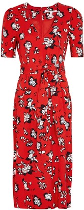 Veronica Beard Joia red floral-print midi dress