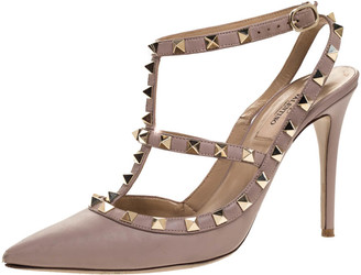 Valentino Beige Leather Rockstud Ankle Strap Pointed Toe Sandals Size 38.5