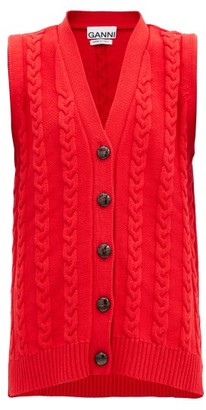 Ganni V-neck Cable-knit Cotton-blend Sleeveless Cardigan - Red