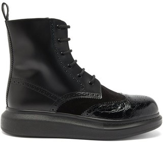 Alexander McQueen Raised-sole Leather And Suede Miltary Boots - Black