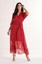 Yumi Ditsy Floral Wrap Front Maxi Dress